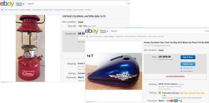 eBay コールマンランタン ハーレーガスタンク