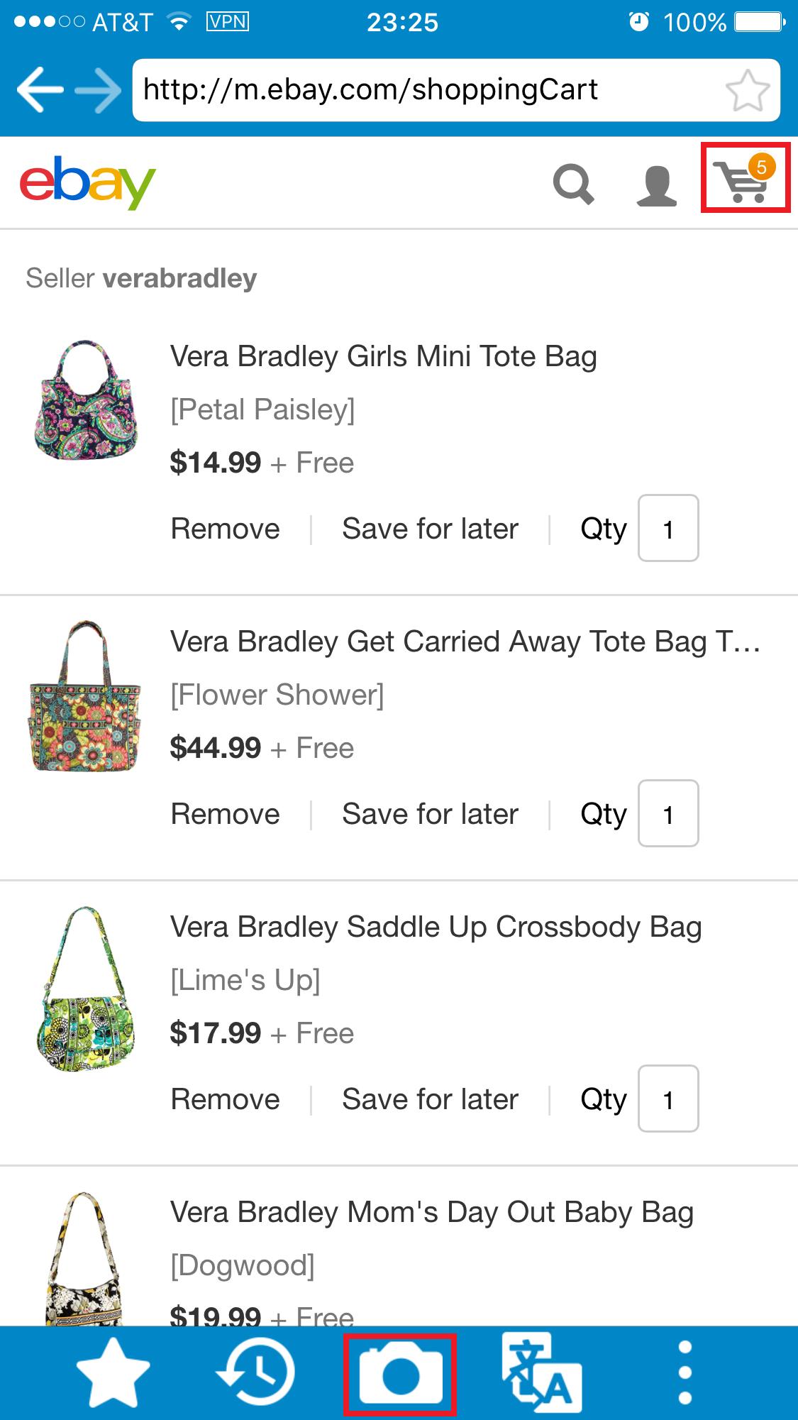 欲しい商品を全てショッピングカートに入れたらe Bayのカートアイコンをクリックしショッピングカートの画面へ。そして'アプリのカメラをクリックしカートの画像をキャプチャしてください。