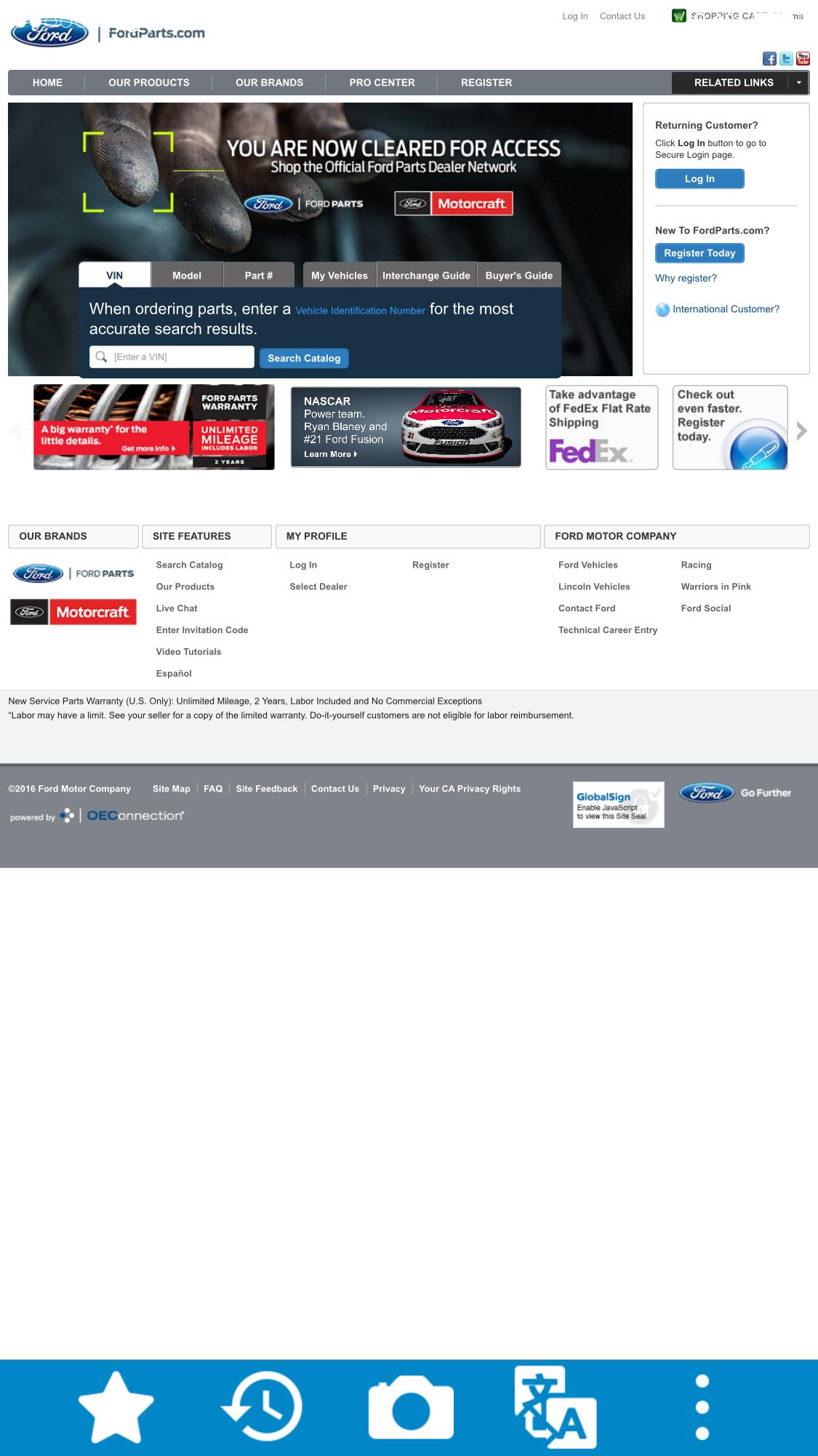 パーツは、VIN番号、車種(Model)、パーツ番号から検索できます。
