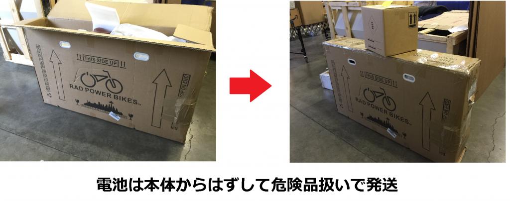 大容量リチウムイオン電池を積んだ電動自転車をアメリカから日本へ発送